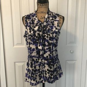 BR Sleeveless White/Blue/Navy Button Up Blouse
